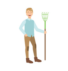 Man with rake cartoon adult characters cleaning vector