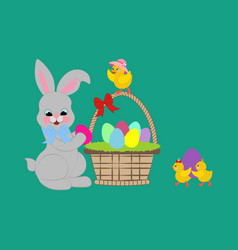 Easter rabbit and chicken vector
