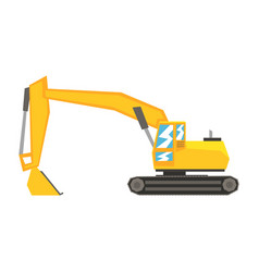 yellow excavator heavy industrial machinery vector image
