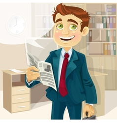 Business man in morning office read a summary of vector image