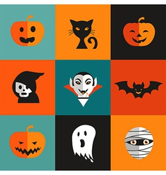Halloween cute set of icons vector image