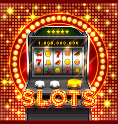 3d slots machine wins the jackpot vector image