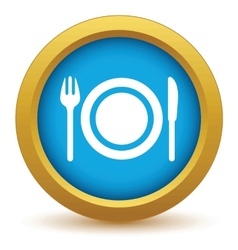 Gold dinner icon vector
