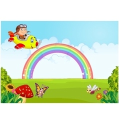 Little boy operating a plane with rainbow vector