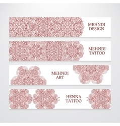 Set of flyer templates mehndi design vector