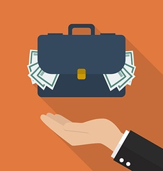 Hand with briefcase full of money vector