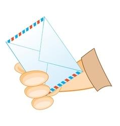 Postal envelope in hand vector
