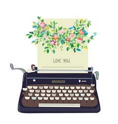 Love you card with typewriter and flower - vector