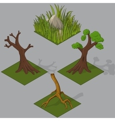 isometric forest elements vector image
