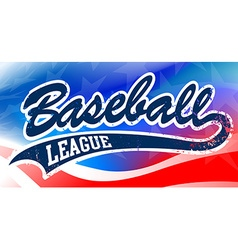 Baseball script on an American flag background vector image