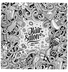 Cartoon cute doodles Hair salon frame design vector image vector image
