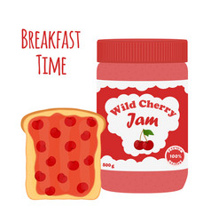 Cherry jam in glass jar toast with jelly vector