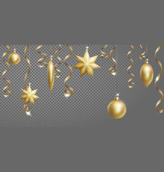 christmas seamless border banner template ball vector image