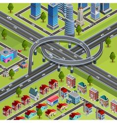 City roads junction interchange isometric poster vector
