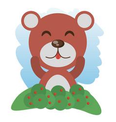 Cute bear animal winking vector