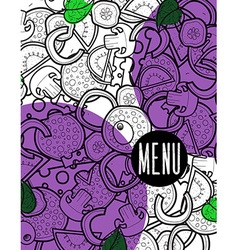 Design menu background doodle of pizza with vector image
