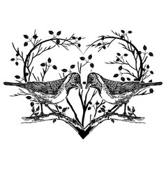 drawing of birds and heart vector image vector image