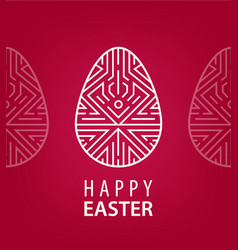 Easter egg with linear geometric decor on vector
