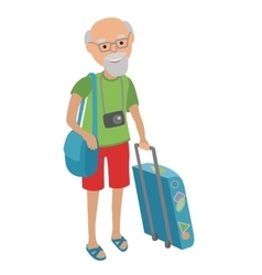 Elderly man traveling isolated on vector