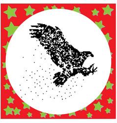 Flying eagle black 8-bit dog standing vector