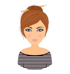 Girl avatar cartoonstock vector