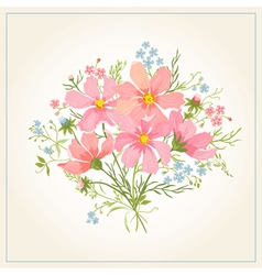 Greeting card with beautiful cute flowers vector