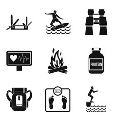 health status icons set simple style vector image