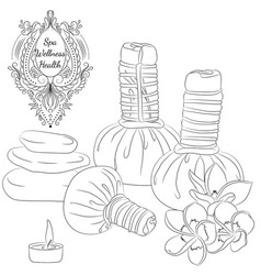 Herbal pouches line art vector