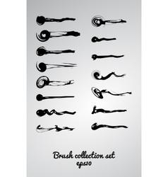 large set of 15 different grunge brush vector image