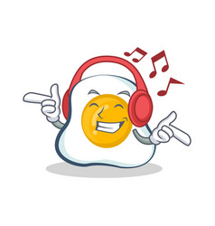 Listening music fried egg character cartoon vector