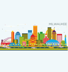milwaukee skyline with color buildings and blue vector image vector image