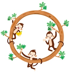 monkey and banana on circle frame vector image - Monkey Picture Frame