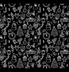 new year christmas objects black and white vector image