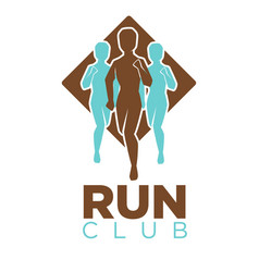 Professional run club emblem logo with men colored vector