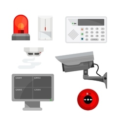 Set of different security system devices vector image vector image