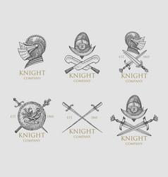 set of monochrome knights emblems badges labels vector image vector image