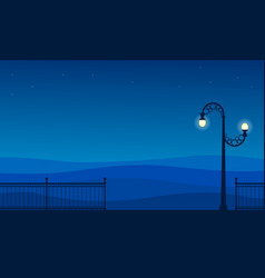 Silhouette of street lamp and fence scenery vector