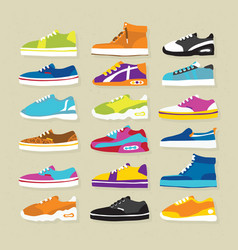 Sneaker sport shoes set vector