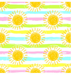 sun pattern seamless spring striped background vector image vector image