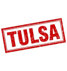 Tulsa red square grunge stamp on white vector
