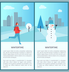 Wintertime posters set on vector