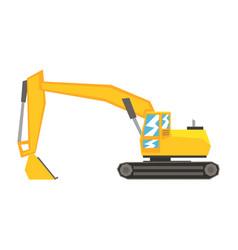Yellow excavator heavy industrial machinery vector