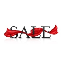 Black sale sign with red silky ribbon vector
