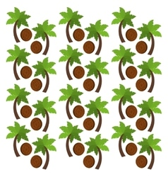 Coconut fruits and palm trees background design vector