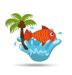 Fish water splash palm summer vacation vector