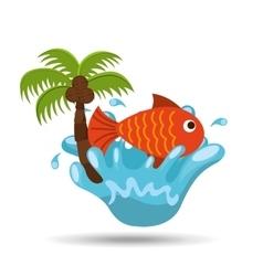 fish water splash palm summer vacation vector image
