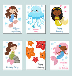 Collection of cute birthday cards collection of vector