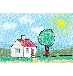 House with front yard vector