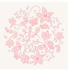 Circle made of flowers vector