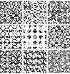 Seamless geometric patterns set 4 vector image